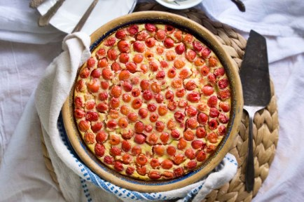Sour Cherry Cornmeal Clafoutis