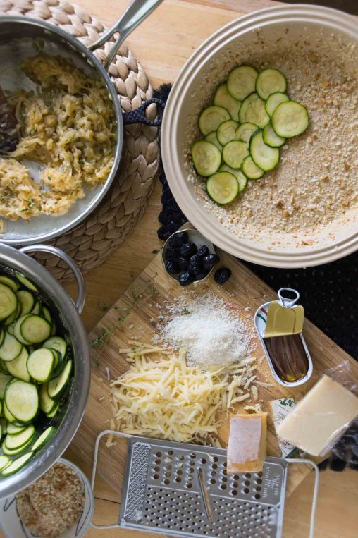 Assembling the Zucchini Gratin