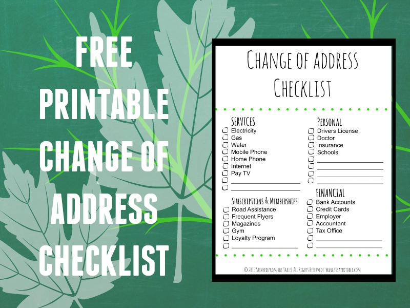 Change of Address Checklist - Strayed from the Table