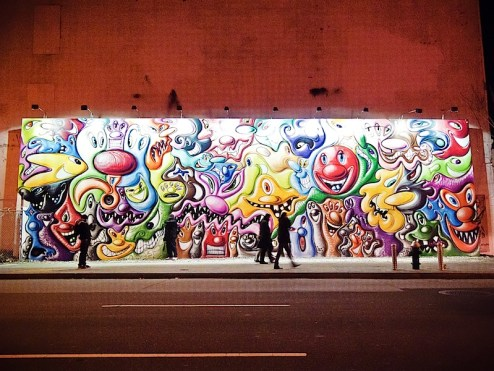 a kenny scharf mural on houston st in NYC