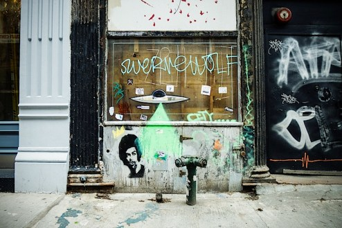 street art graffiti by swervewolf, EKG and more found in chinatown, NYC