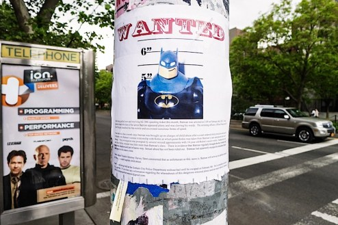a batman wanted poster found on houston street in NYC