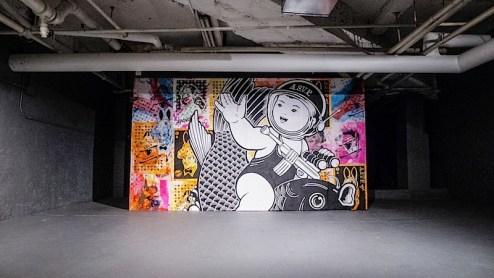 ASVP street art in the basement of the Hendershot Gallery in NYC