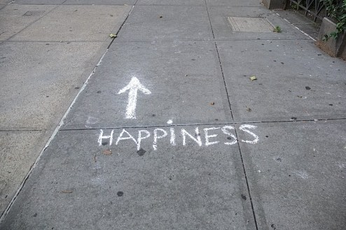 happiness chalk graffiti found in the west village of nyc