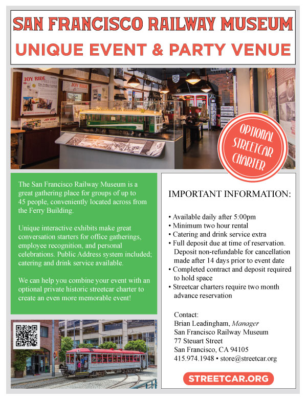 Party At Our Museum! Market Street Railway - party rental flyer