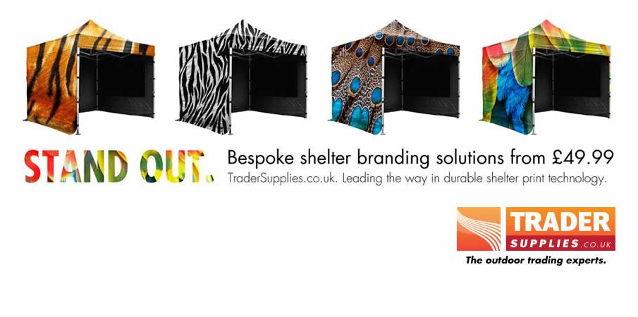 STAND OUT - Bespoke Shelter Branding Solutions from £49.99!