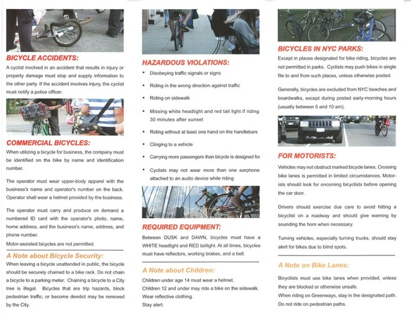 "Nyc Department Of Education Calendar Usa Nyc Dot Contact Dot Nypd's Embarrassing ""safety Tips"" For Cycling"