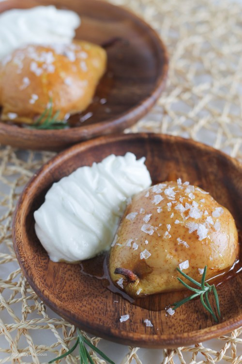 Honey Roasted Pears with Sea Salt and Rosemary Whipped Cream ...