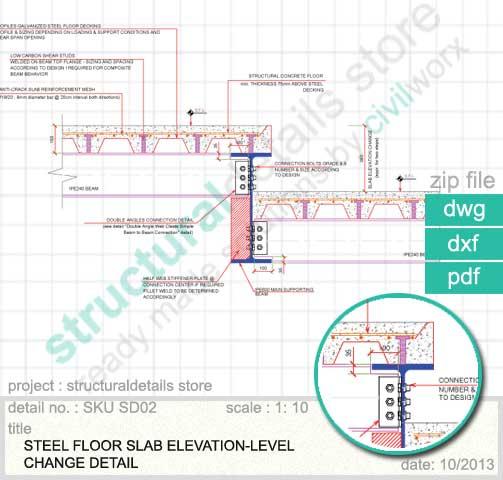 Osha Floor Elevation Change : Steel floor slab elevation change detail
