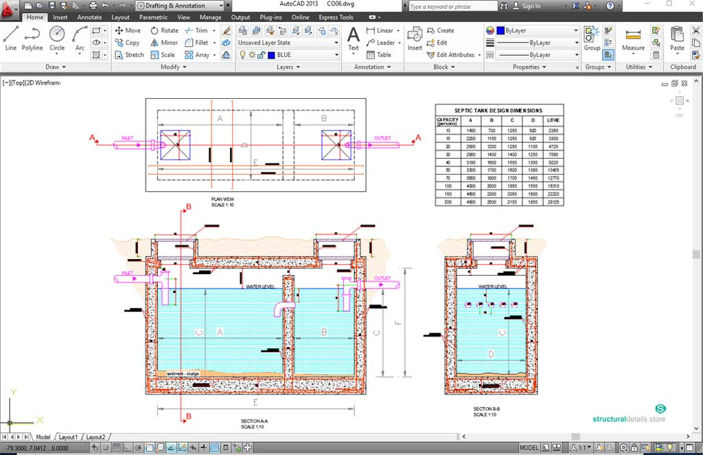Septic Tank Reinforcement Detail - septic tank layout