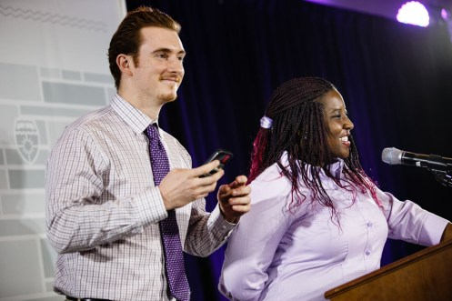 Students Michael Gaytko and Natacha Eguida spoke.