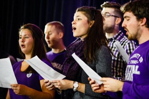 The Festival Choir sings the new alma mater.