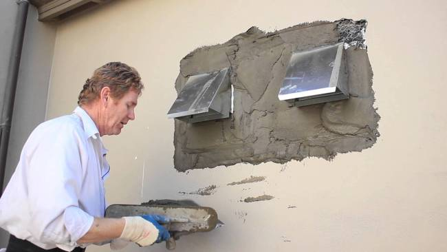Re Stucco vent holes, Mastering plastering