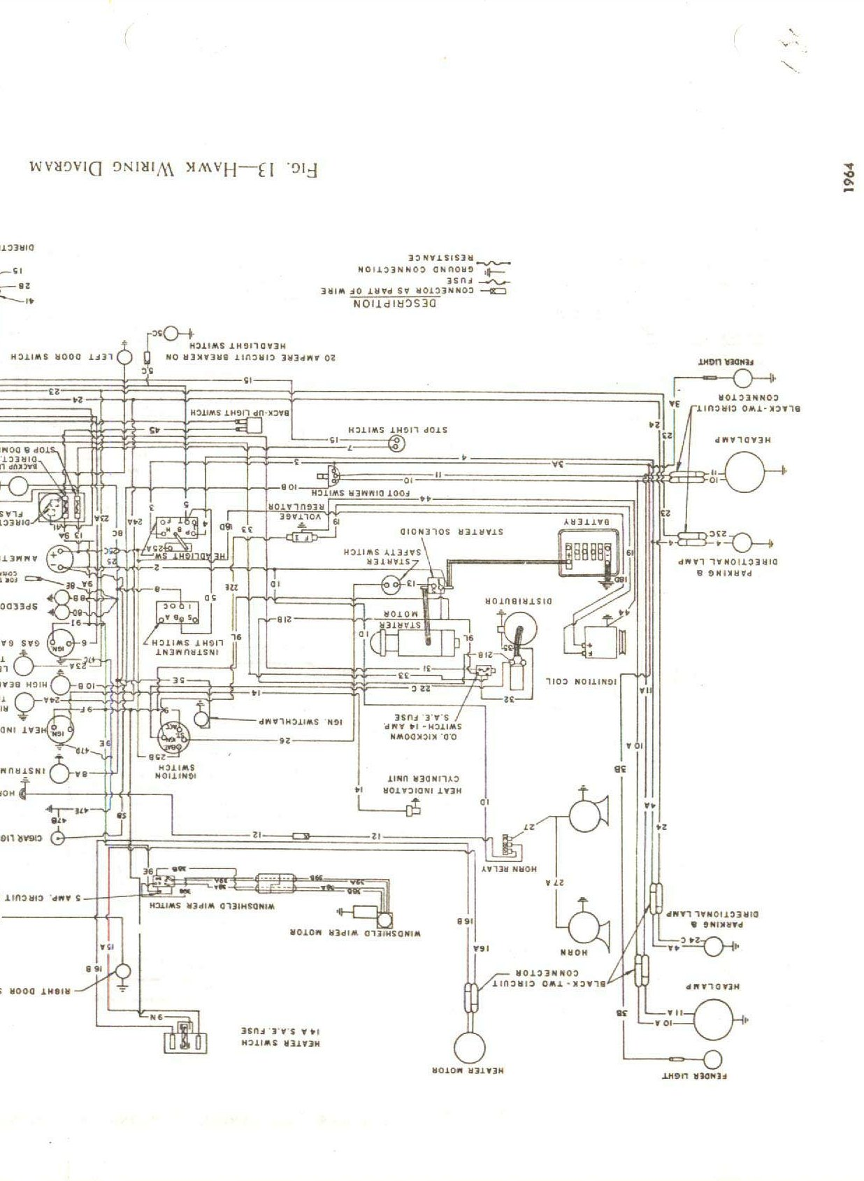 wiring diagram for 1963 64 studebaker hawk