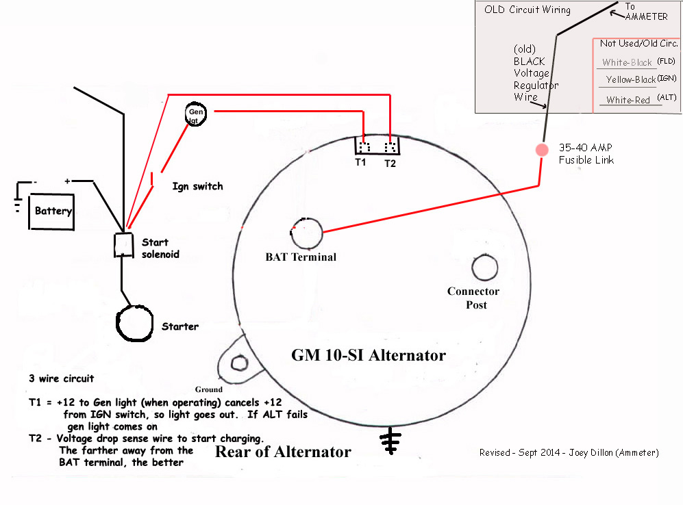 gm alternator wiring diagram 2 wire alternator