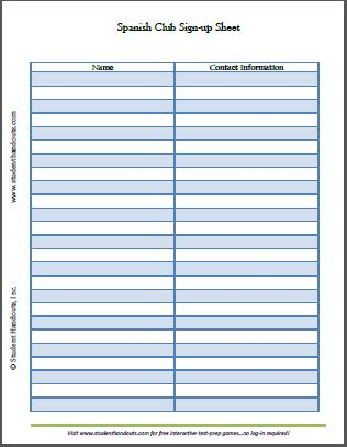 Spanish Club Sign-up Sheet Student Handouts