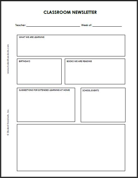 Blank Classroom Newsletter Template Student Handouts - weekly newsletter template