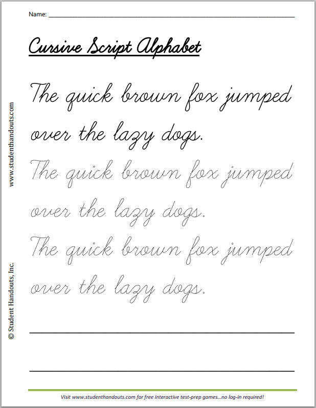 Quick Brown Fox Cursive Writing Practice Worksheet Student Handouts