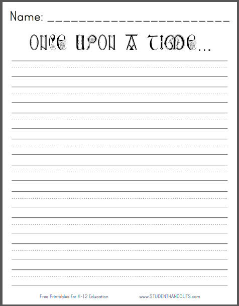 Once upon a time - Free Printable K-3 Writing Prompt Student - Free Writing Paper Template