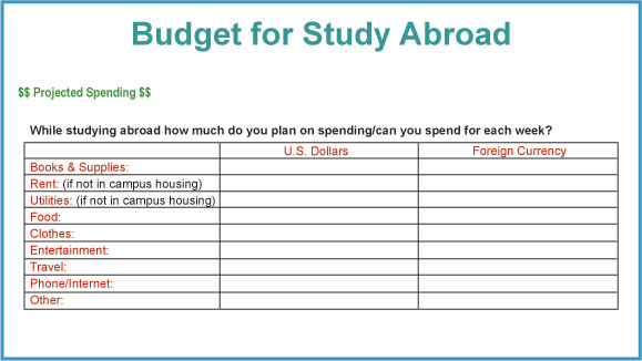 StudentsAbroad - Study Abroad Handbook Worldwide Financing - form for budgeting