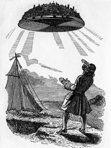 Gulliver découvrant Laputa, la ville volante. Gravure de J.J. Grandville, vers 1856.