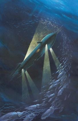 Le Nautilus rencontra cette armée de mollusques qui sorn particulièrement nocturnes. Acrylique sur carton Ed. Gründ 2002