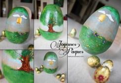 Oeuf de Pâques peint, cadeau réalisé et offert en 2015.