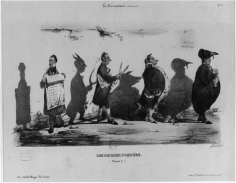 Jean-Jacques-Isidore Gérard, dit Grandville,  Les Ombres portées, planche 1, La Caricature, n°2, 11 novembre 1830, lithographie coloriée, Nancy, musée des Beaux-Arts.