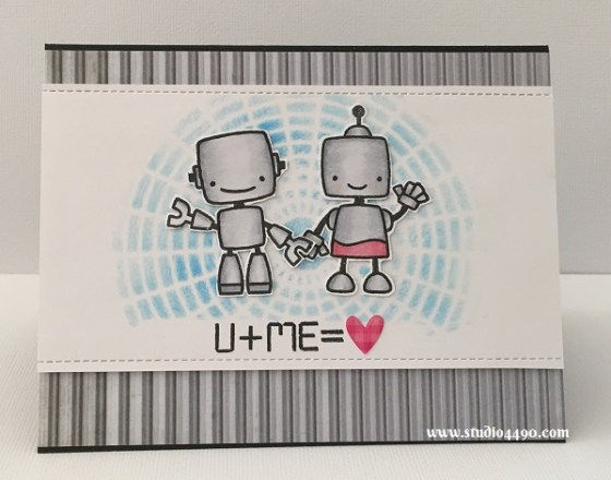 U + Me = <3 Materials used: Stamps -Boom Bots (Paper Smooches); Die - Die-namics Blueprints 13 (MFT); Cardstock - Knights Smooth, American Crafts; Designer Paper - Scrap Yard (KaiserCraft); Huey's Masks - Circle Graph Mask (Studio Calico); Sprinkles Shapes - Hearts (Doodlebug Designs); Copic Markers; Distress Ink Pad - Salty Ocean  (Tim Holtz/Ranger) and Wink of Stella.