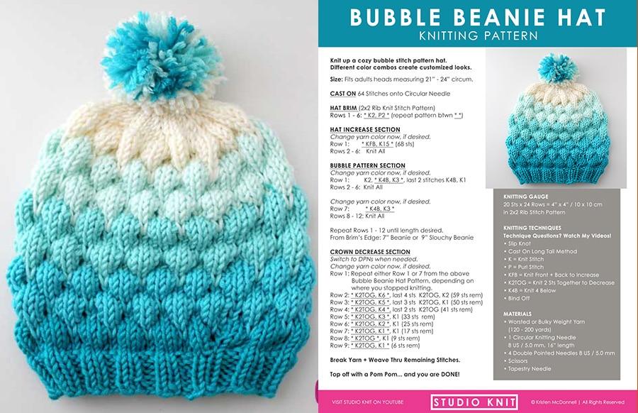 Bubble Beanie Hat (Knitting Pattern) Studio Knit
