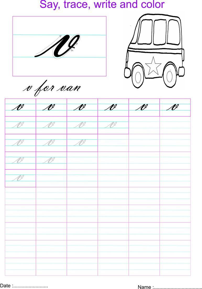 Worksheet V Cursive letter v worksheets sample resume free printables education cursive small letters practice open pdf