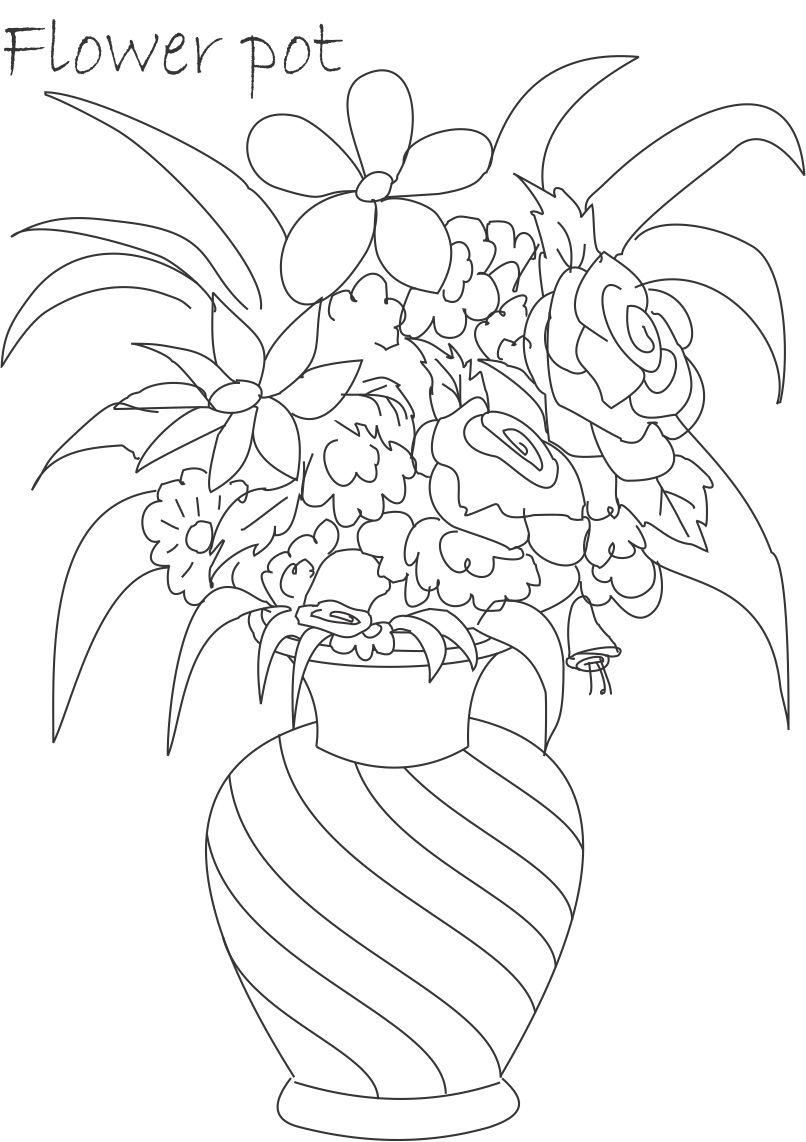 vase coloring pages flower pot coloring printable download