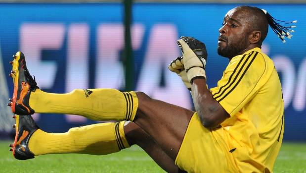 TP Mazembe goalkeeper Muteba Kidiaba performs his famous 'bouncing' celebration. Auckland City will be hoping he stays firmly off his backside if they meet the African outfit in the quarter-finals.