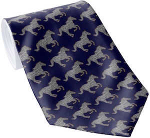 Blue Necktie With Galloping Horses