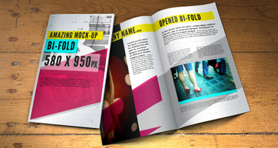 Free Bi-fold Brochure Mock-Up Template