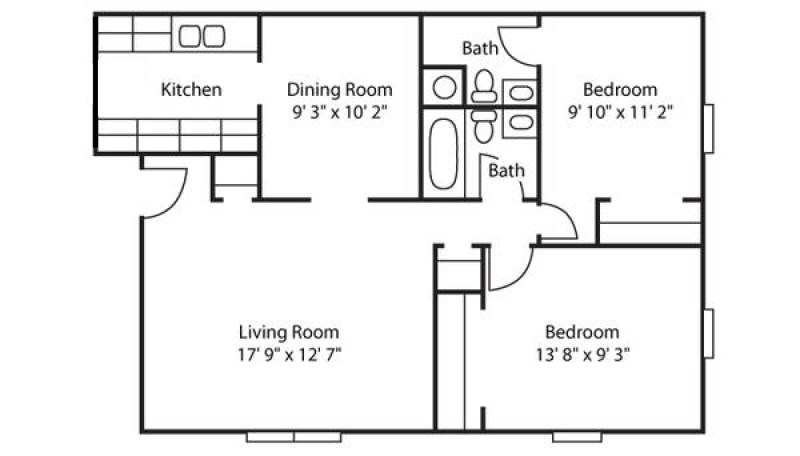 Large Of 2 Bedroom Floor Plans