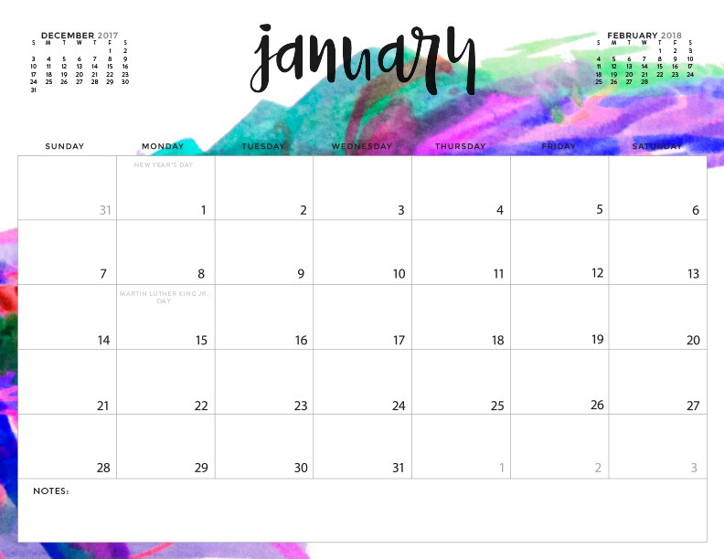 16 DIY Organization Projects 2018 Free Printable Calendars (Part 1