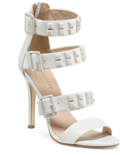 Nicole Miller Studded Strappy White Buckle Leather Heels