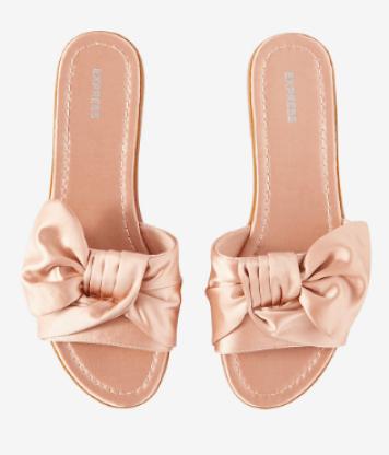 Pink Satin Bow Slides Sandals