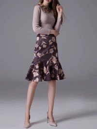 Gray Elegant Tie-neck Knit Set - StyleWe.com
