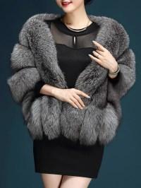 Artificial Hair Faux fox Fur Shawl Coat Solid Evening ...