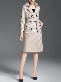 Long Sleeve Casual Shawl Collar Trench Coat - StyleWe.com