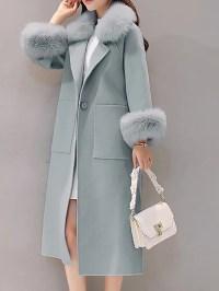 Long Sleeve Shawl Collar Paneled Pockets Slit Fluffy Coat ...
