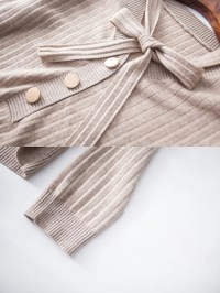 Long Sleeve Wool Tie-Neck Sweaters - StyleWe.com