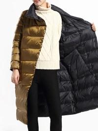 Black-Coffee Reversible Shawl Collar Down Coats - StyleWe.com