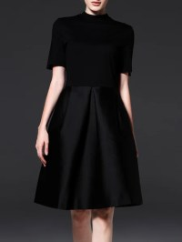 Black Elegant Short Sleeve A-line Midi Dress - StyleWe.com