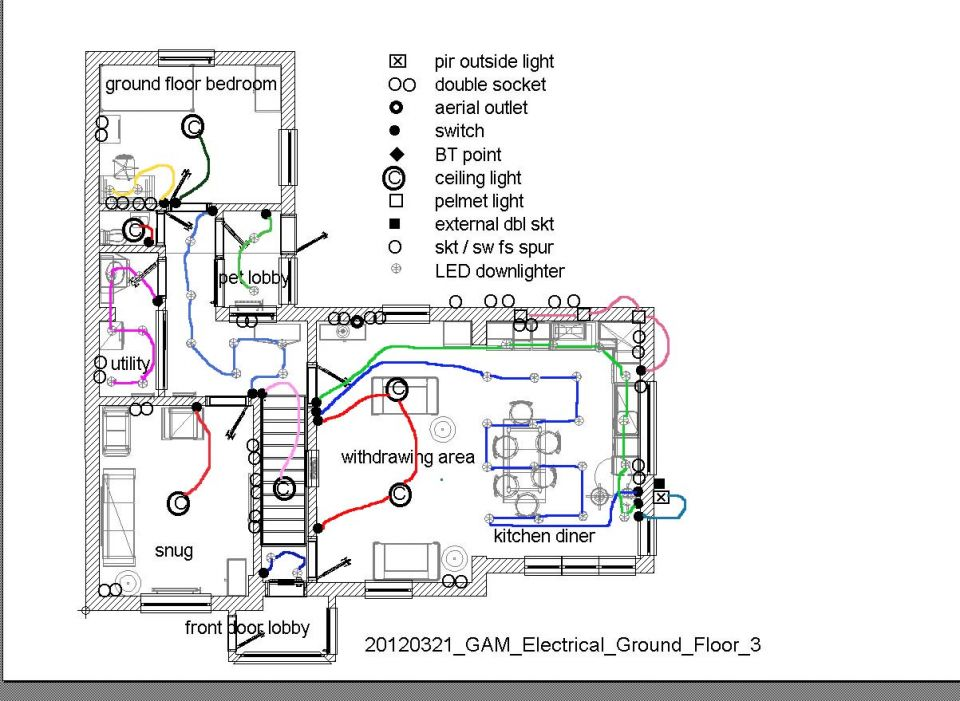kitchen wiring layout uk