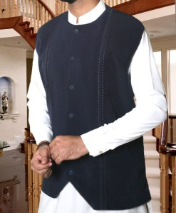 Waist Coat Blue Stitched Design