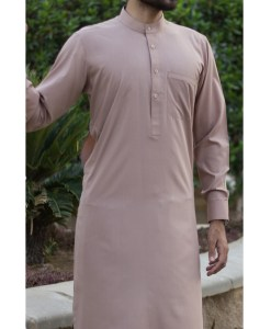 Shalwar Kameez Light-Brown Wash n Wear Band Collar