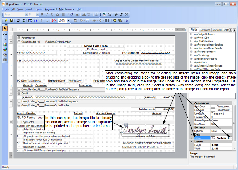 FAQ How do I add a signature to my purchase order format